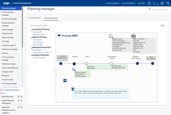 Sage X3 planning manager