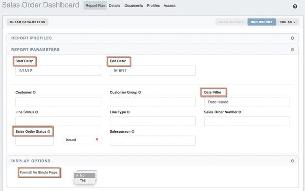 Sales order dashboard