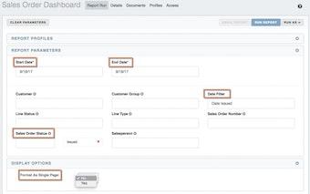 Sales order dashboard