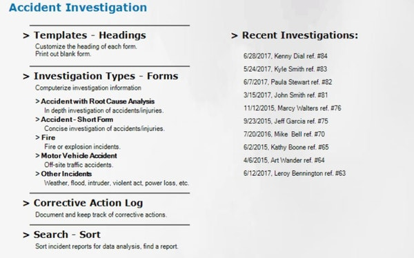 Accident investigation template