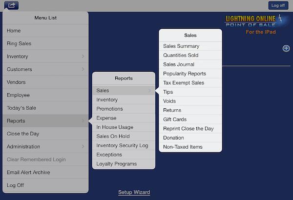 iPad main menu