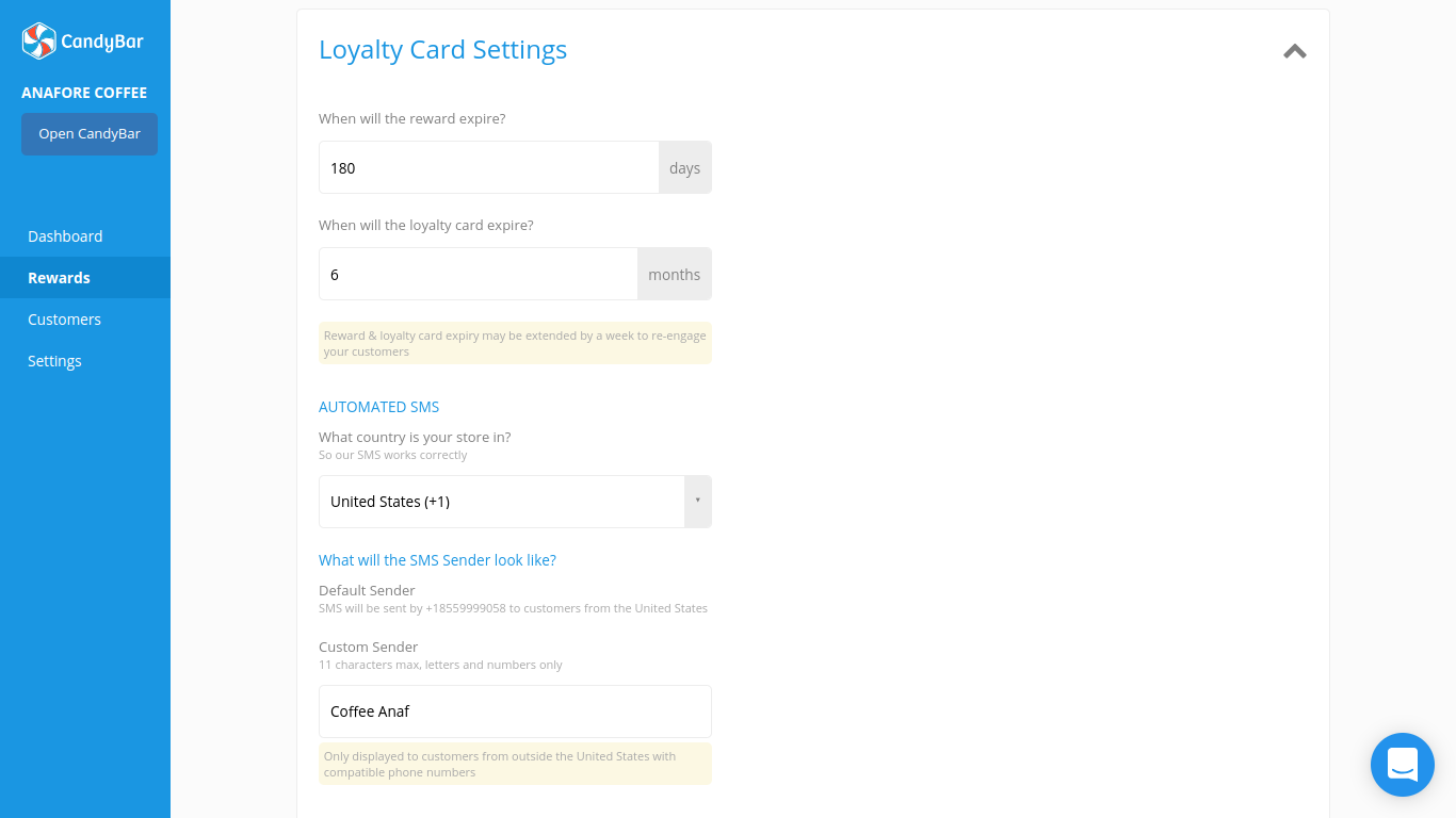 Loyalty card settings