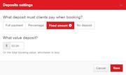 Deposit settings