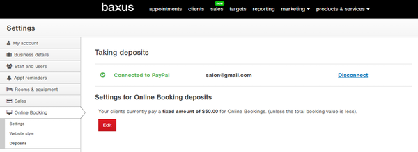 Online booking deposits