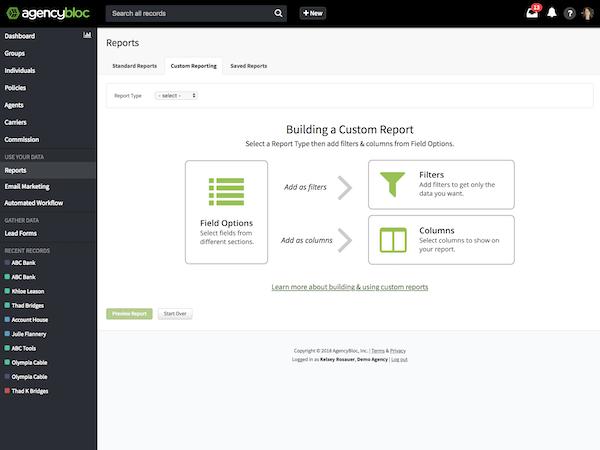 AgencyBloc - Custom reporting