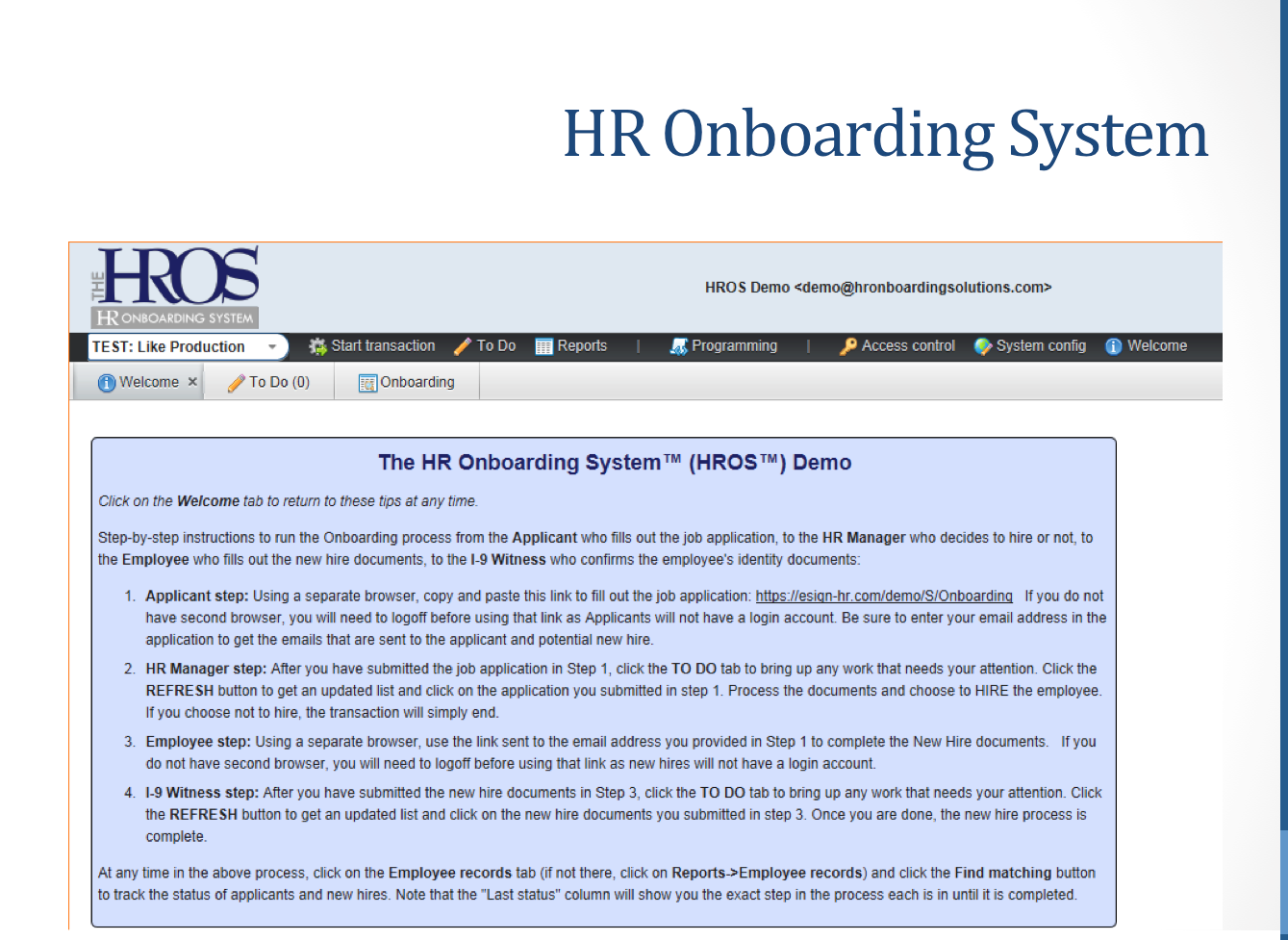 HR onboarding system