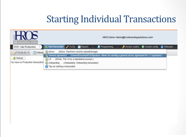 Starting individual transactions