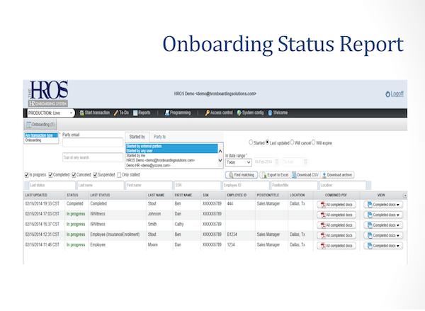 Onboarding status report