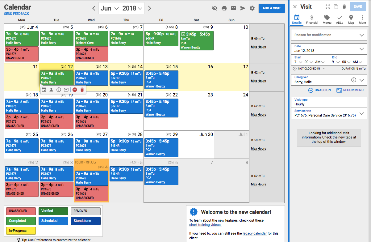 Client calendar
