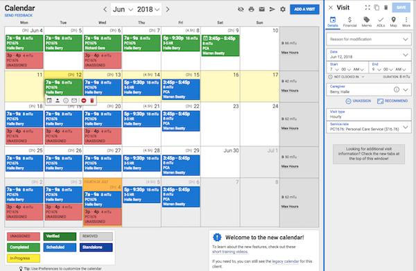 AxisCare client calendar