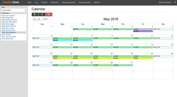 Chronicle Online - Calendar view