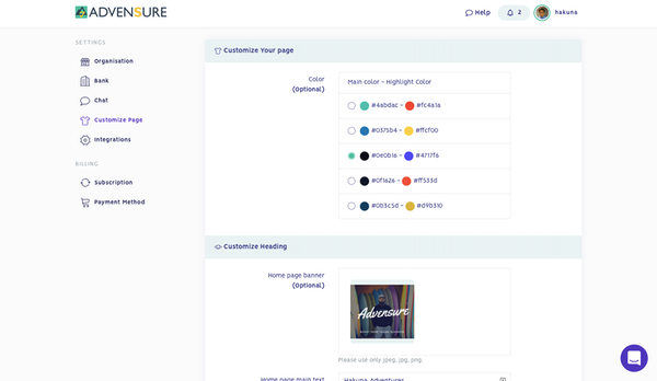Customize page