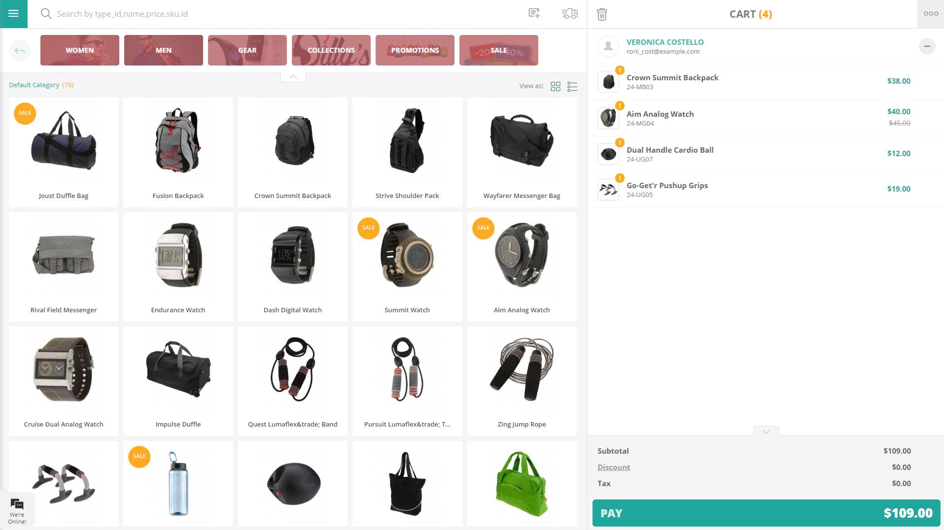 Sales screen