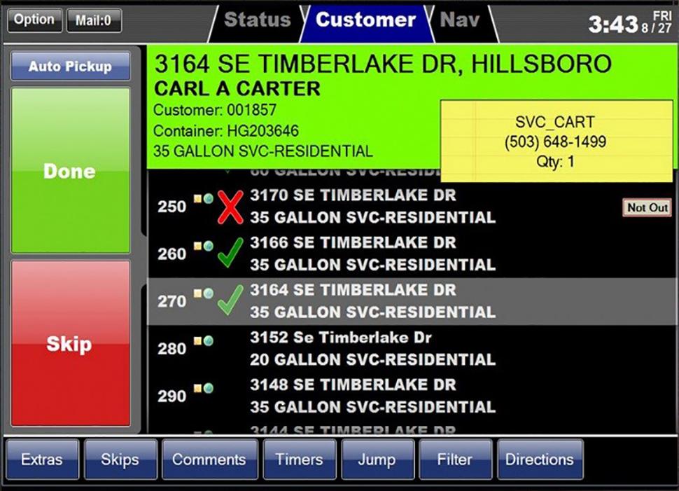 Customer tab