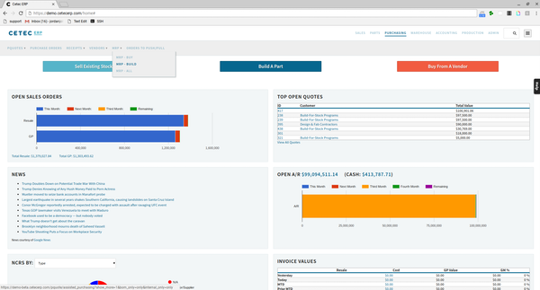 Cetec ERP - Home page