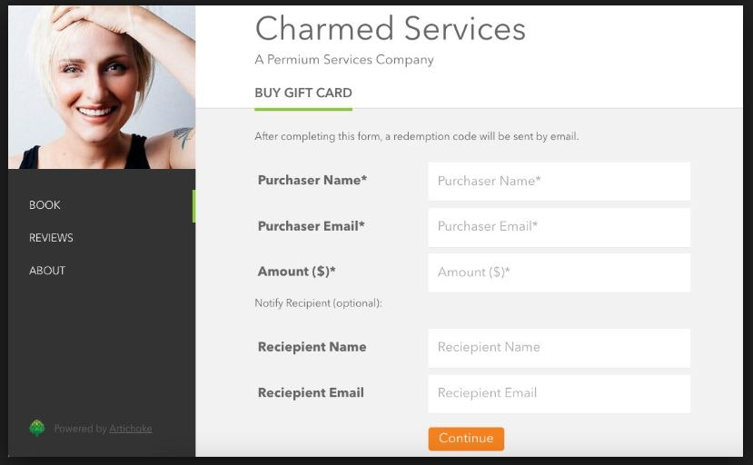 Online gift card forms