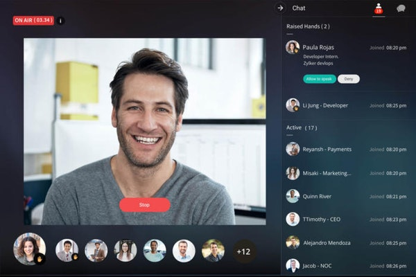 Zoho Cliq team video chat