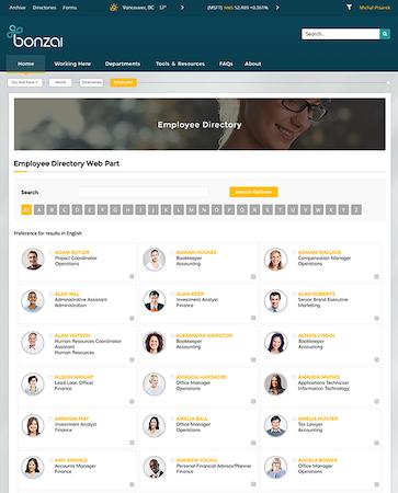 Bonzai Intranet - Employee directory