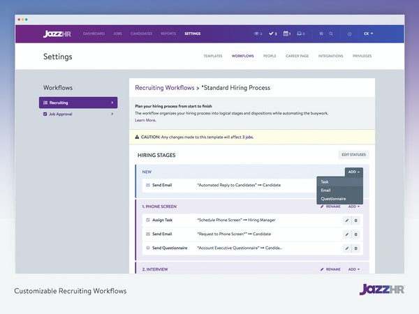 Customizable recruiting workflows