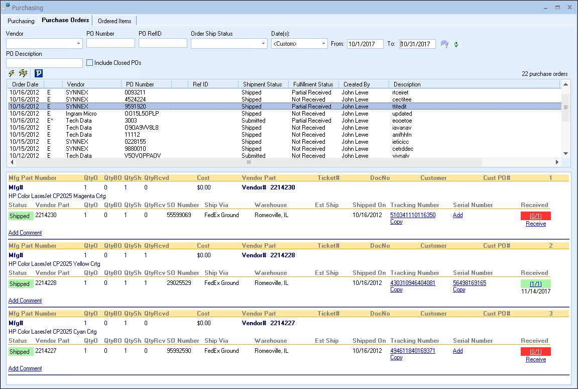 Order status tracking