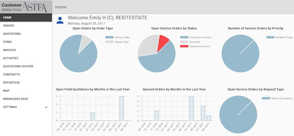 Customer portal dashboard