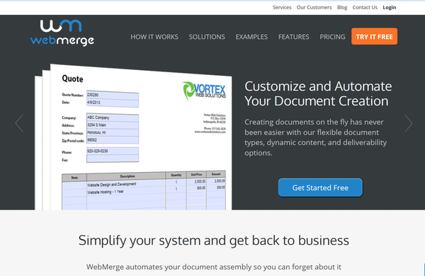 WebMerge provides cloud based document generation