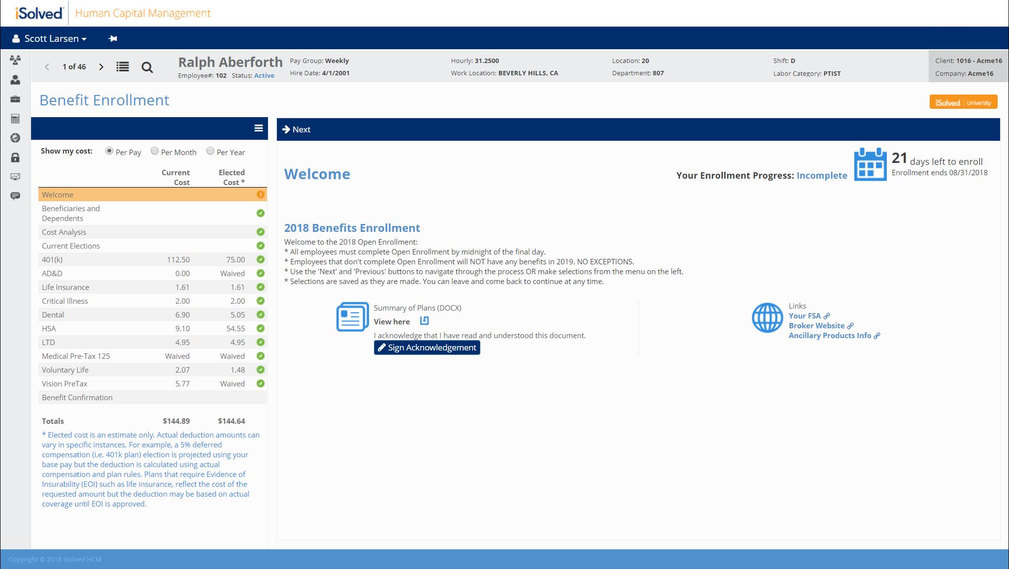 iSolved - Benefits enrollment profile