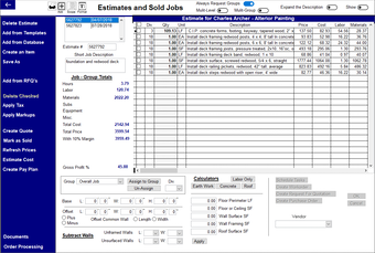 Estimate screen