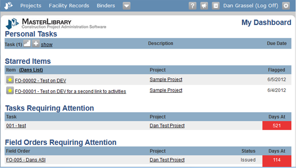 Dashboard of all open items