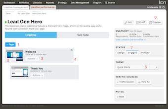 Creative management tab