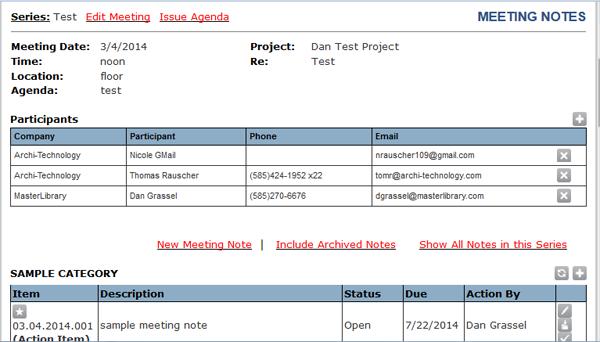 Meeting note summary