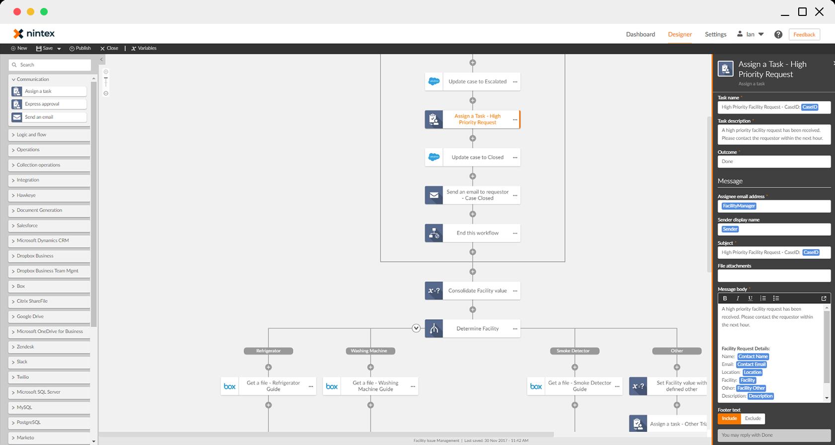 Workflow header screen