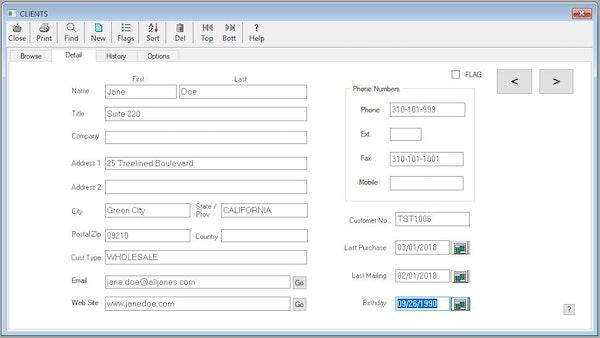 Edit client data