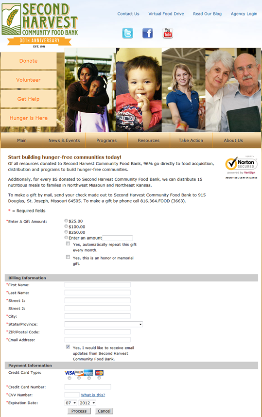 Food bank marketing-donation form