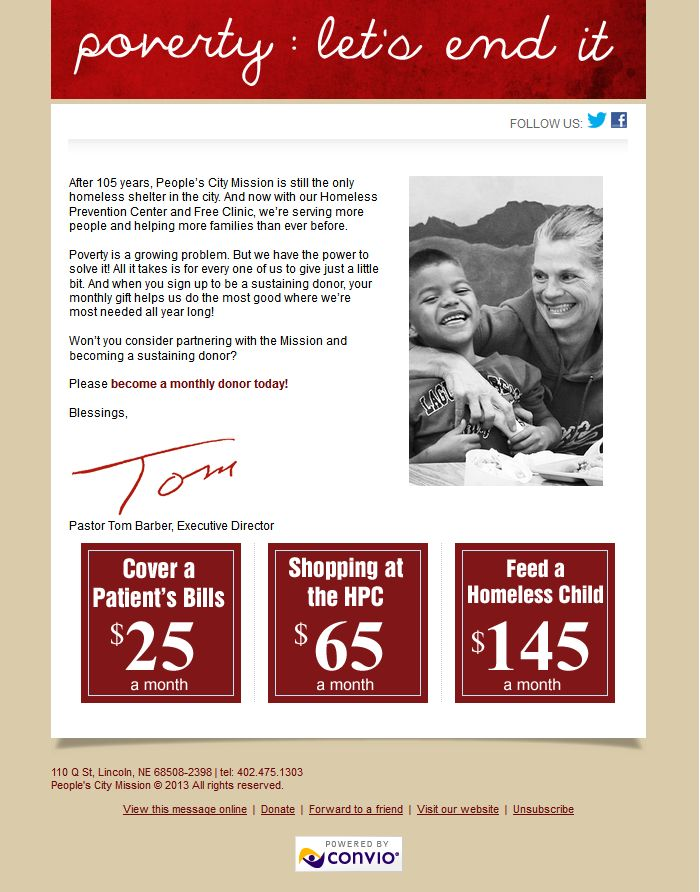 Homeless shelter marketing-email