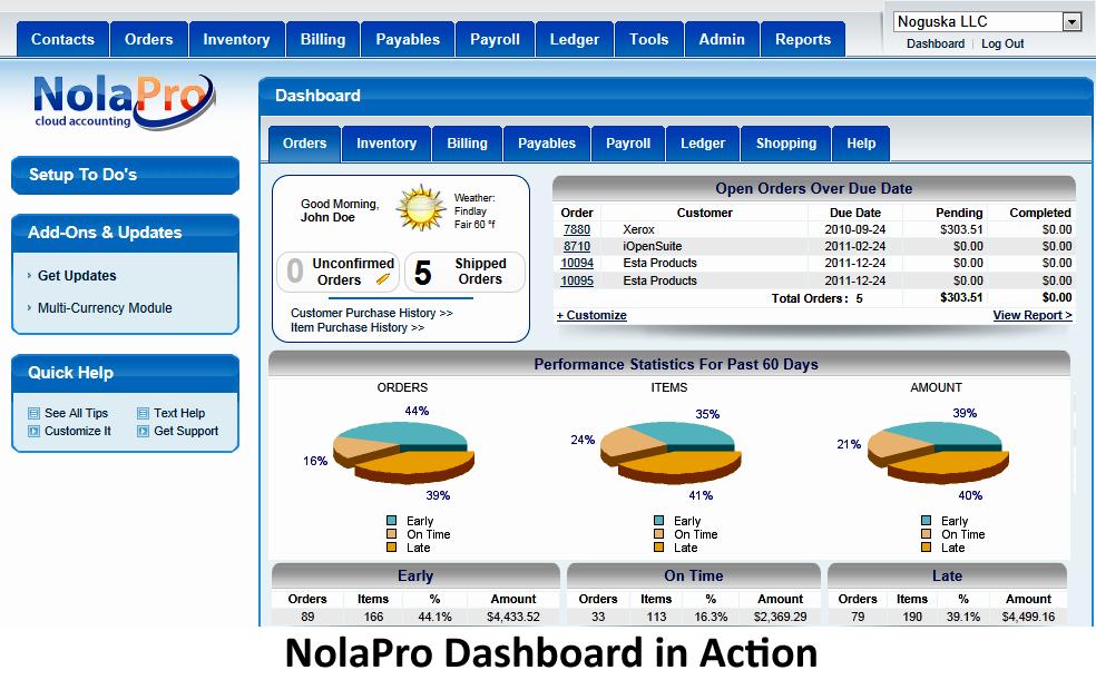 NolaPro main screen