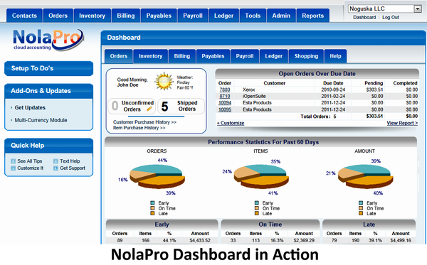 NolaPro main screen