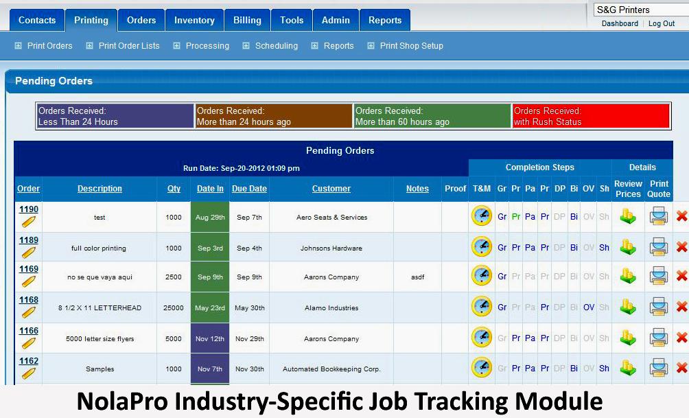 Custom job tracking