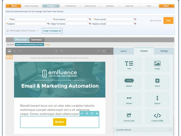 emfluence Marketing Platform - Drag and drop editor