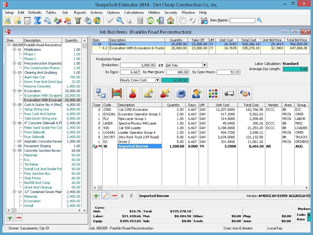 Bid-Item Detail for Task Costs