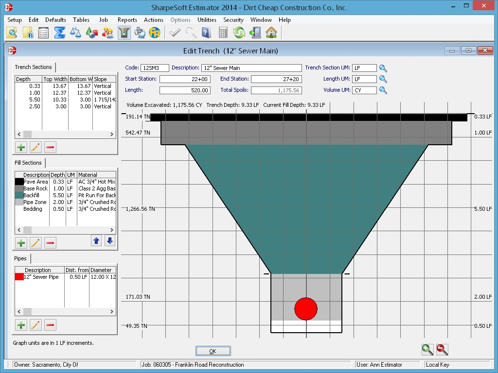 Trench Profiler for Material Quantities
