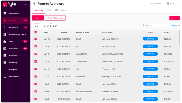 Reports approvals