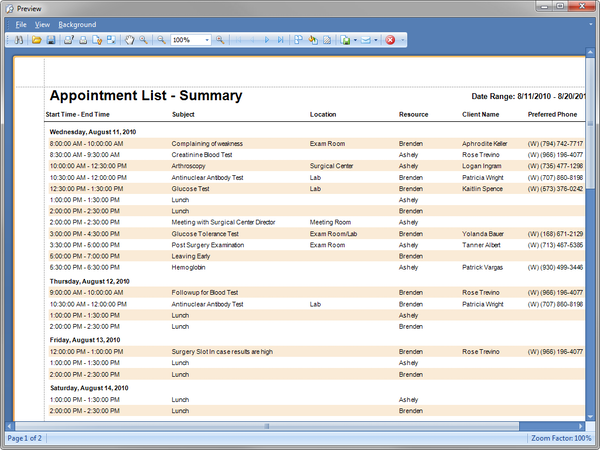 Appointments list