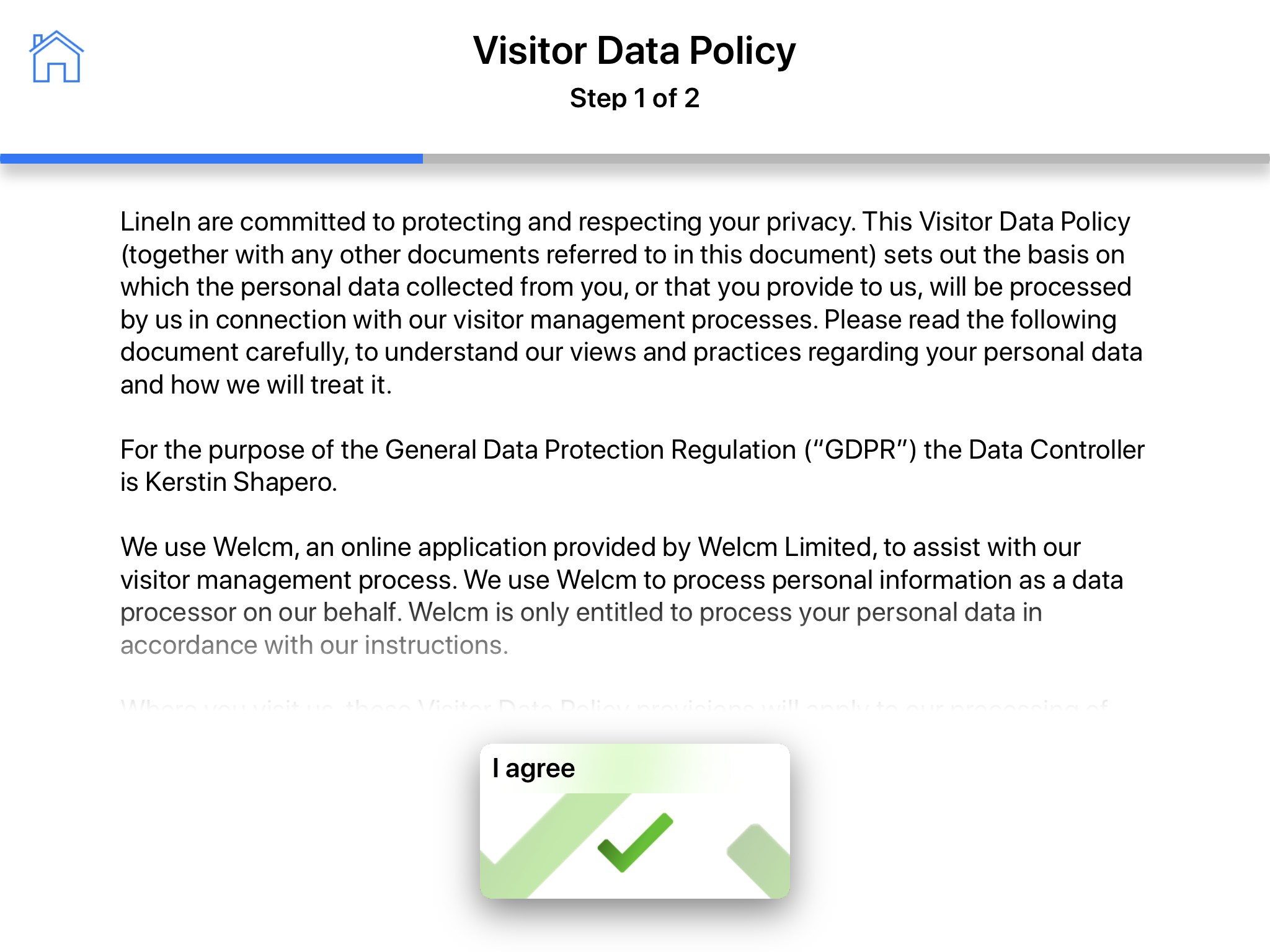 Visitor data policy