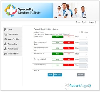 Patient portal history page