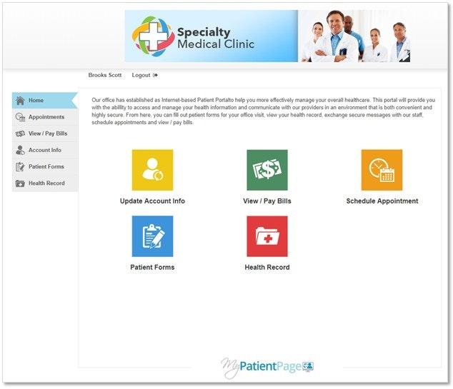Patient portal main page