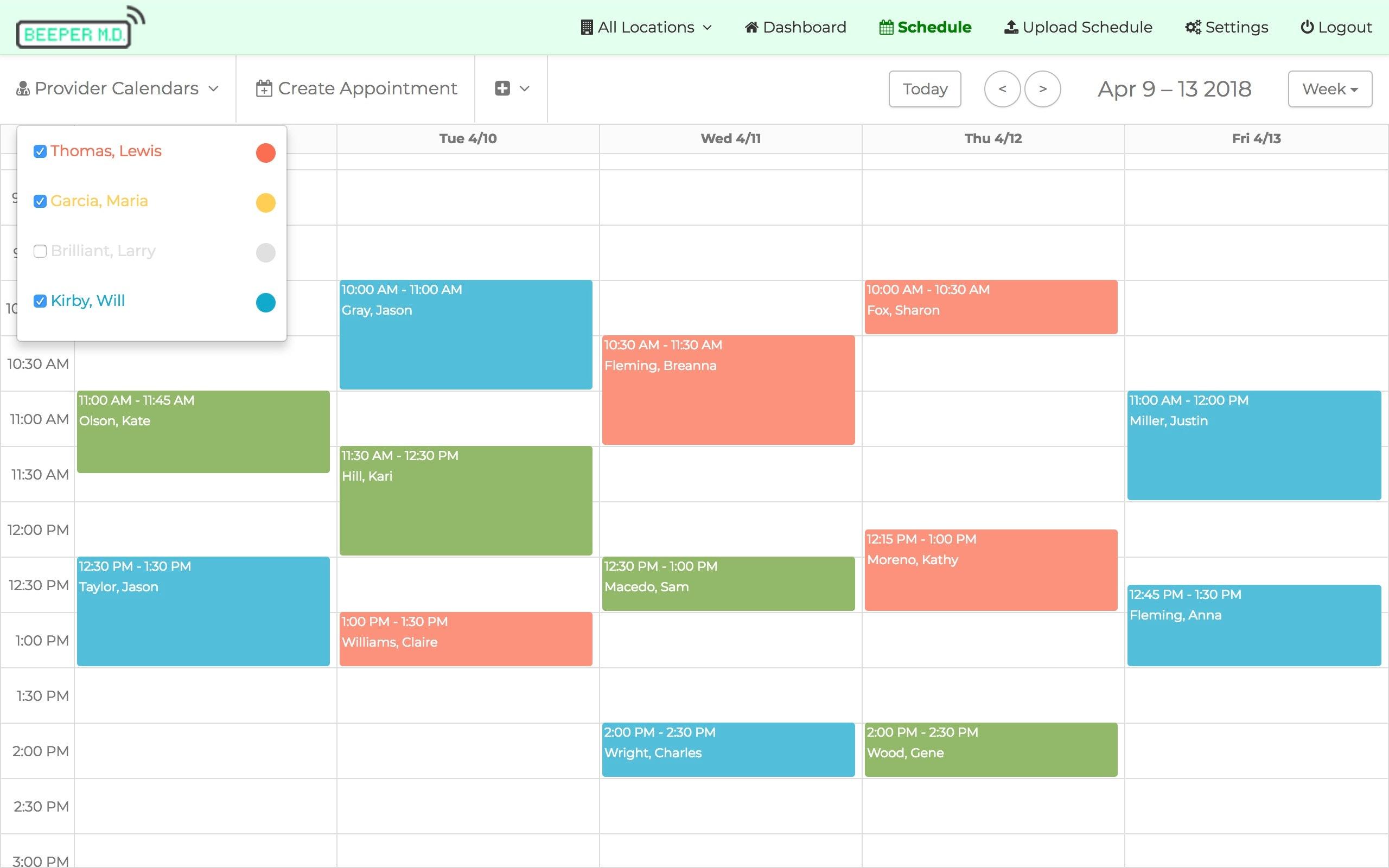 Provider calendars