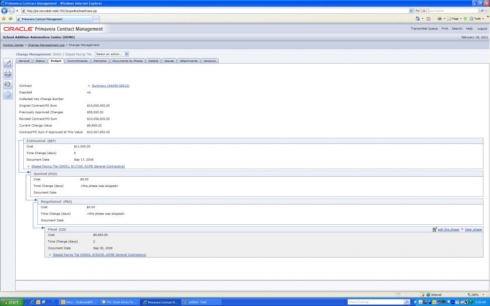 Oracle Primavera P6 - Change management