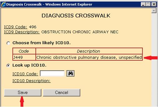 Diagnosis crosswalk