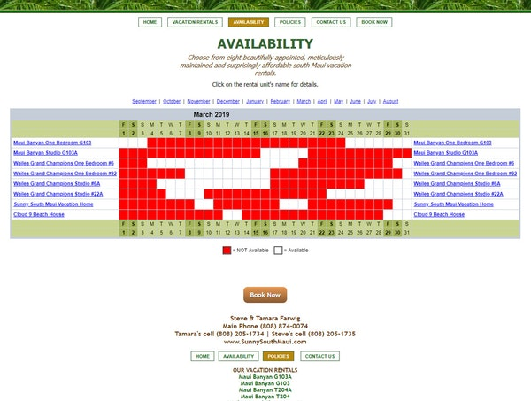 Sample booking page